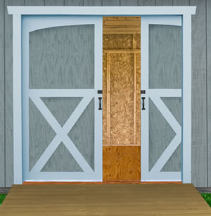 Outdoor storage shed Wood Pocket Door