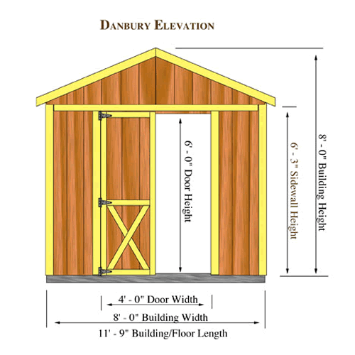 Danbury 8 X12 Shed Kit