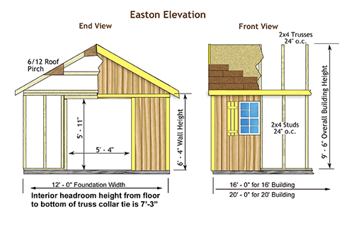 Easton 20x12 Wood Storage Shed Kit All Pre Cut Easton 1220
